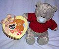 Тедди плюшевый серый в красной кофте