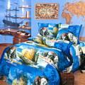 постельное белье ПИРАТЫ синий 1.5 полуторо-спалка